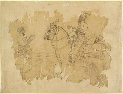 Bahadur Shah On Horseback Art Print by British Library