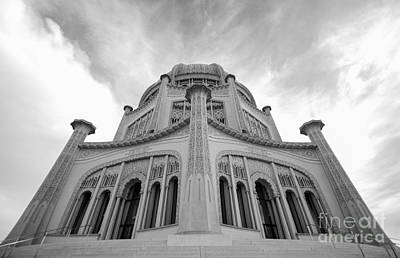 Photograph - Baha'i House Of Worship Black And White Wilmette Illinois by Deborah Smolinske
