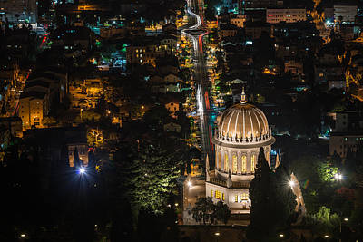 Photograph - Baha'i Temple At Night by Michael Goyberg