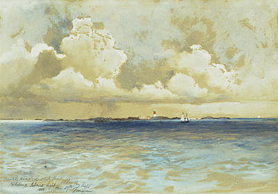 Harbor Painting - Bahama Island Light by Thomas Moran