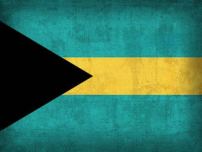Island Mixed Media - Bahamas Flag Vintage Distressed Finish by Design Turnpike