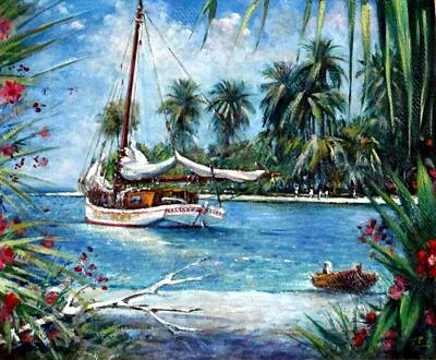 Painting - Bahamas Moored For The Night by Philip Corley