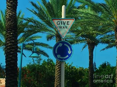 Photograph - Bahamas Traffic Circle Sign by Bob Sample