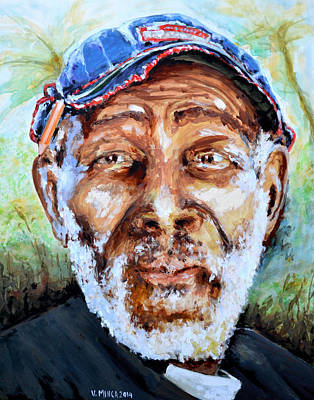 Bahamian Old Man Art Print by Victor Minca