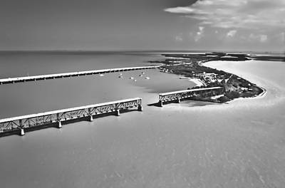 Florida Bridge Photograph - Bahia Honda Bw by Patrick M Lynch