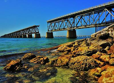 Florida Keys Train Railroad Photograph - Bahia Honda Rail Bridge by Benjamin Yeager