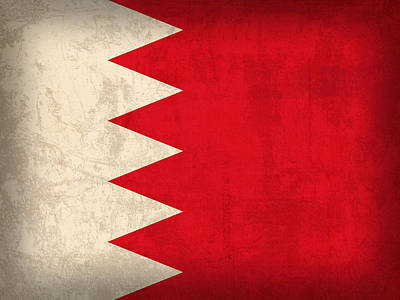 East Mixed Media - Bahrain Flag Vintage Distressed Finish by Design Turnpike