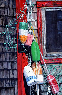 Painting - Bailey Island Buoys by Bill Hudson
