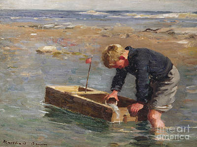 Flags Painting - Bailing Out The Boat by William Marshall Brown