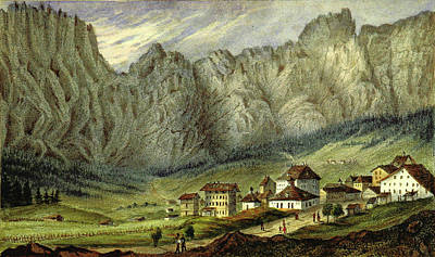 Graubunden Drawing - Bains De Loueche, Leuck Bad,swiss Alps, South Wallis by Litz Collection