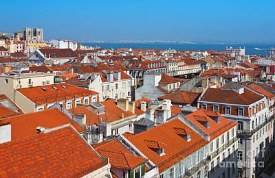 Baixa City Center Of Lisbon Panoramic View Art Print by Kiril Stanchev