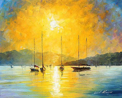 Baja California - Palette Knife Oil Painting On Canvas By Leonid Afremov Original by Leonid Afremov