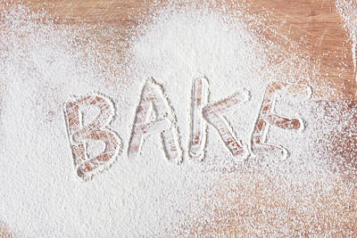 Flour Photograph - Bake Text by Tom Gowanlock