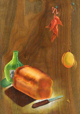 Pepper Painting - Baked Bread by Doreta Y Boyd