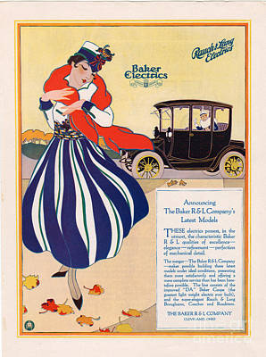 Nineteen-tens Drawing - Baker Electric Cars 1910s Usa Cc Cars by The Advertising Archives