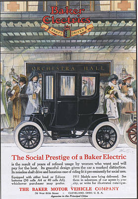Nineteen-tens Drawing - Baker Electric Cars 1910s Usa by The Advertising Archives