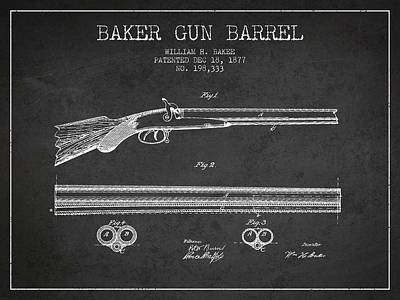 Baker Gun Barrel Patent Drawing From 1877- Dark Art Print by Aged Pixel