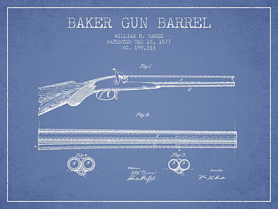 Baker Gun Barrel Patent Drawing From 1877- Light Blue Art Print by Aged Pixel