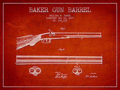 Small Digital Art - Baker Gun Barrel Patent Drawing From 1877- Red by Aged Pixel