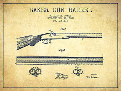 Small Digital Art - Baker Gun Barrel Patent Drawing From 1877- Vintage by Aged Pixel