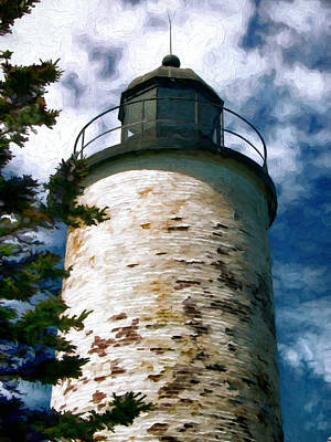 Baker Island Painting - Baker Island Lighthouse Acadia National Park Maine by Elaine Plesser