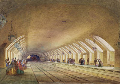 Baker Street Station, 1863 Wc & Bodycolour With Pen & Ink On Paper Art Print by Samuel John Hodson