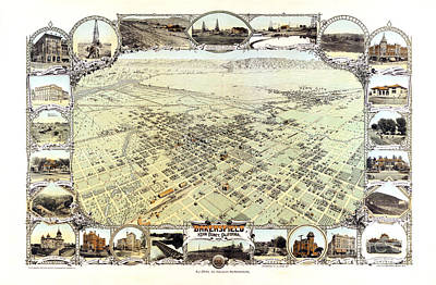 Vintage Map Painting - Bakersfield - California - 1901 by Pablo Romero