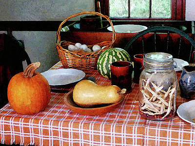Checkered Tableclothes Photograph - Baking A Squash And Pumpkin Pie by Susan Savad