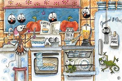 Crows Painting - Baking Pumpkin Pie by Lucia Stewart