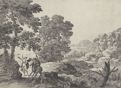 Balaam And The Donkey With The Angel, Herman Van Swanevelt Print by Herman Van Swanevelt