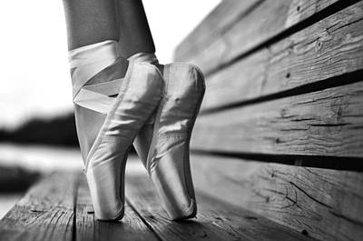Pointe Shoes Photograph - balance BW by Laura Fasulo