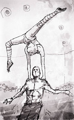 Action Drawing - Balance by H James Hoff