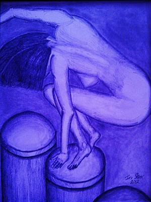 Suggestive Drawing - Balance In Blue by Irving Starr