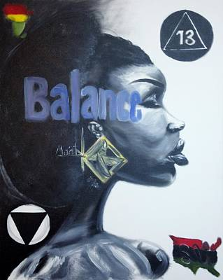 Aset Painting - Balance Of Ma'at by Sean Ivy aka Afro Art Ivy