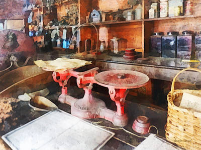 Red Photograph - Balance Scale In General Store by Susan Savad