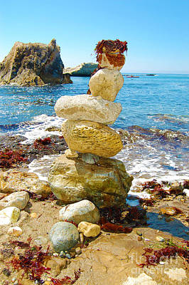 Balanced Beach Rock Stack Art Print by Debra Thompson