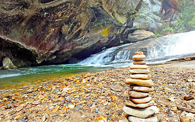 Photograph - Balanced River Rocks At Birdrock Waterfalls Filtered by Duane McCullough