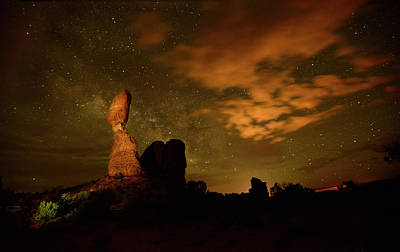 Photograph - Balanced Rock And The Milky Way by Raul Touzon