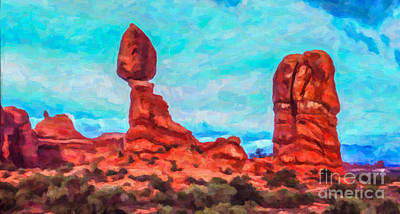 Digital Art - Balanced Rock Arches Np by Liz Leyden