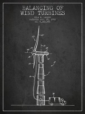 Balancing Of Wind Turbines Patent From 1992 - Dark Art Print