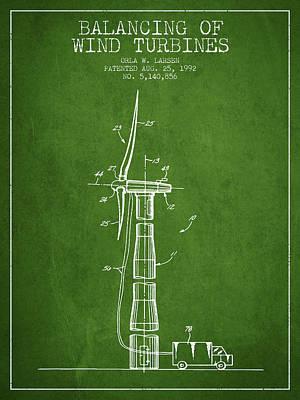 Balancing Of Wind Turbines Patent From 1992 - Green Art Print