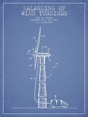 Balancing Of Wind Turbines Patent From 1992 - Light Blue Art Print