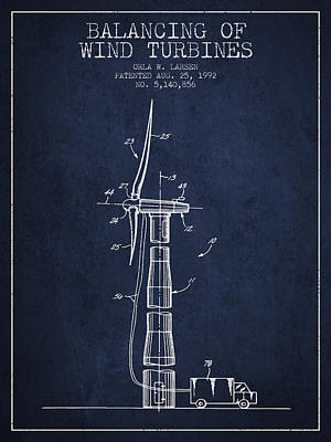 Balancing Of Wind Turbines Patent From 1992 - Navy Blue Art Print