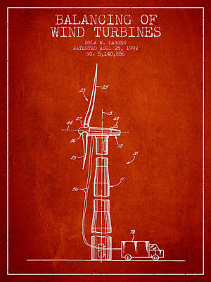 Balancing Of Wind Turbines Patent From 1992 - Red Art Print