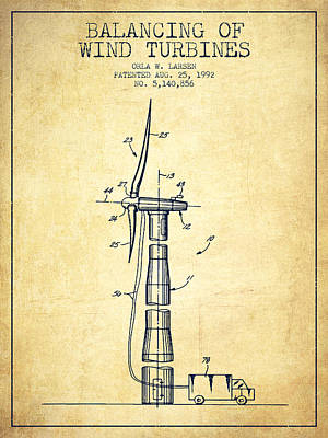 Renewable Energy Digital Art - Balancing Of Wind Turbines Patent From 1992 - Vintage by Aged Pixel