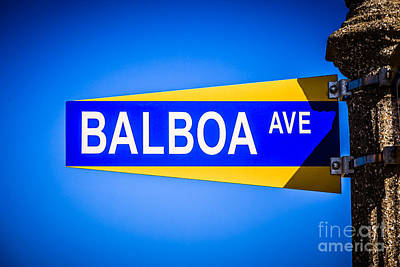 Balboa Avenue Street Sign On Balboa Island California Art Print