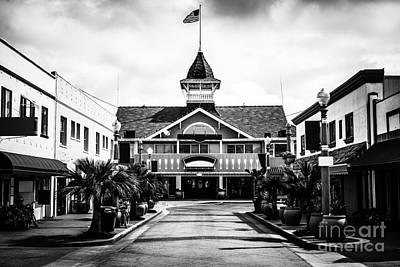 Newport Photograph - Balboa California Main Street Black And White Picture by Paul Velgos