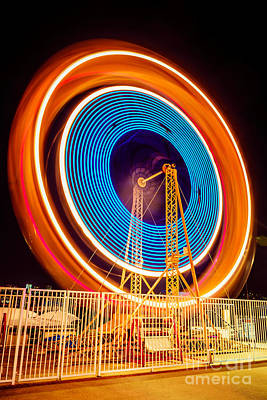 Balboa Fun Zone Ferris Wheel At Night Picture Art Print by Paul Velgos