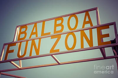 Nostalgic Sign Photograph - Balboa Fun Zone Sign Newport Beach Vintage Photo by Paul Velgos