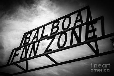 Amusements Photograph - Balboa Fun Zone Sign Picture Newport Beach by Paul Velgos